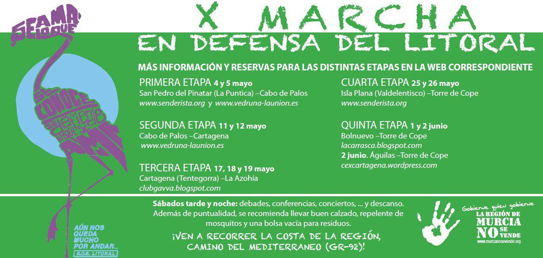 La Xª Marcha en Defensa del Litoral recorre la costa murciana