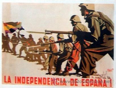Cartel de Josep Renau durante la Guerra Civil, dentro de la política del PCE de defender la unidad del pueblo de las nacionalidades y regiones con el objetivo de conquistar la independencia de España frente al imperialismo.