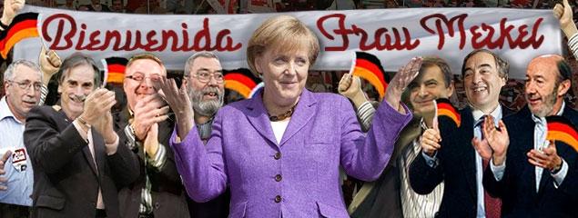 Fotomontaje publicado en lasideasdejeugenio.blogspot, el 3 de febrero de 2011, con motivo de la visita de Merkel a Madrid