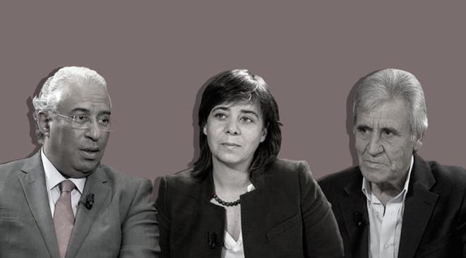 Jerónimo de Sousa (Partido Comunista), António Costa (primer ministro, socialista) y Catarina Martins (Bloco de Esquerda).