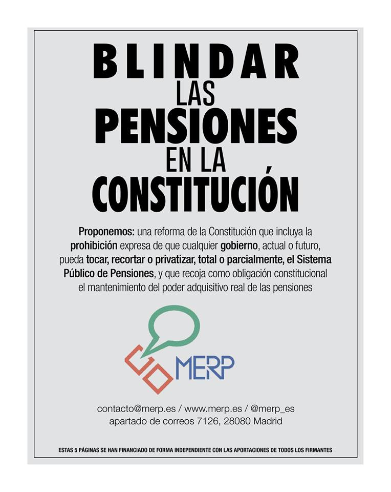 300 organizaciones lanzan el manifiesto:  'Blindar las Pensiones en la Constitución