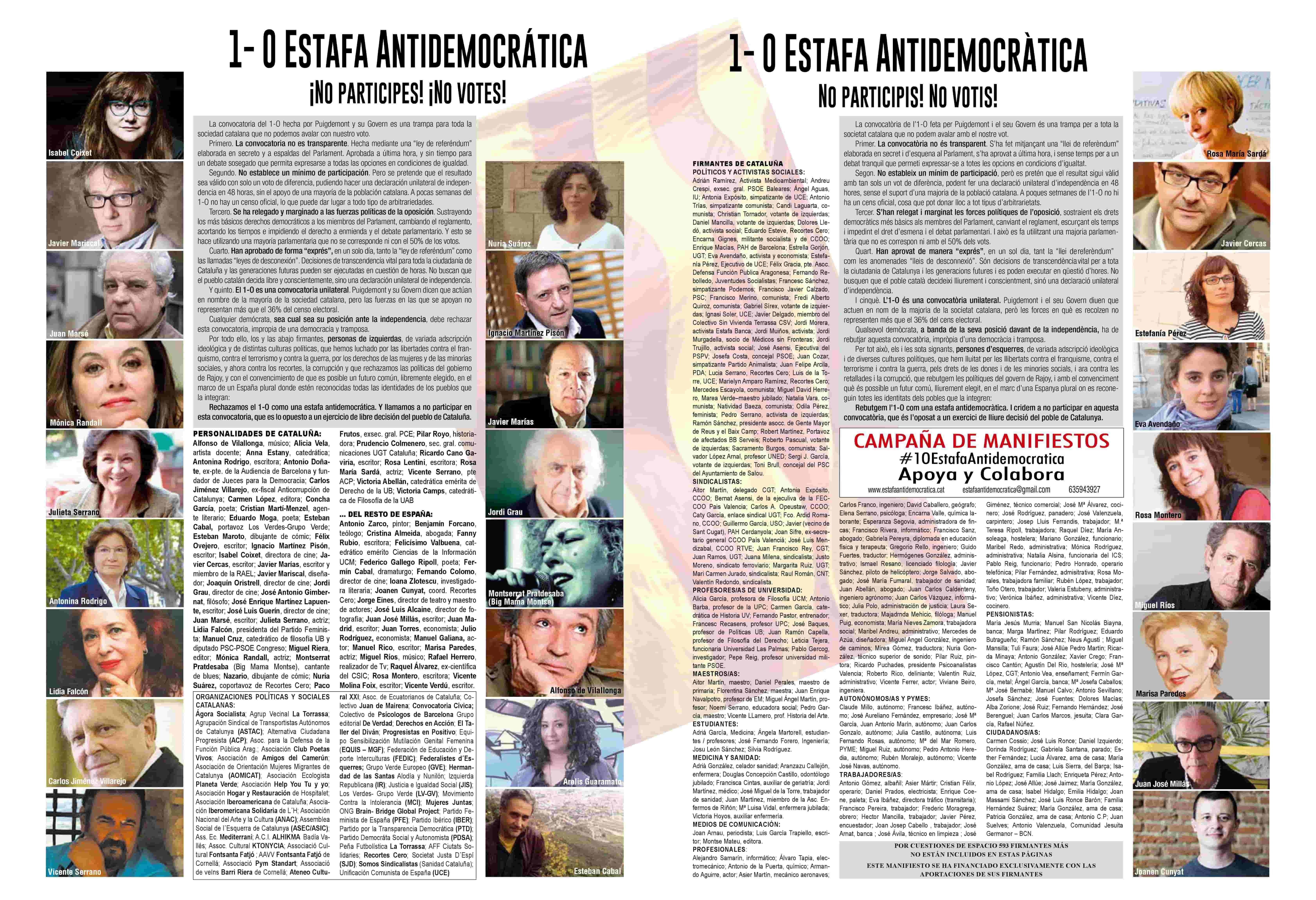 Manifiesto 1-O Estafa Antidemocrática
