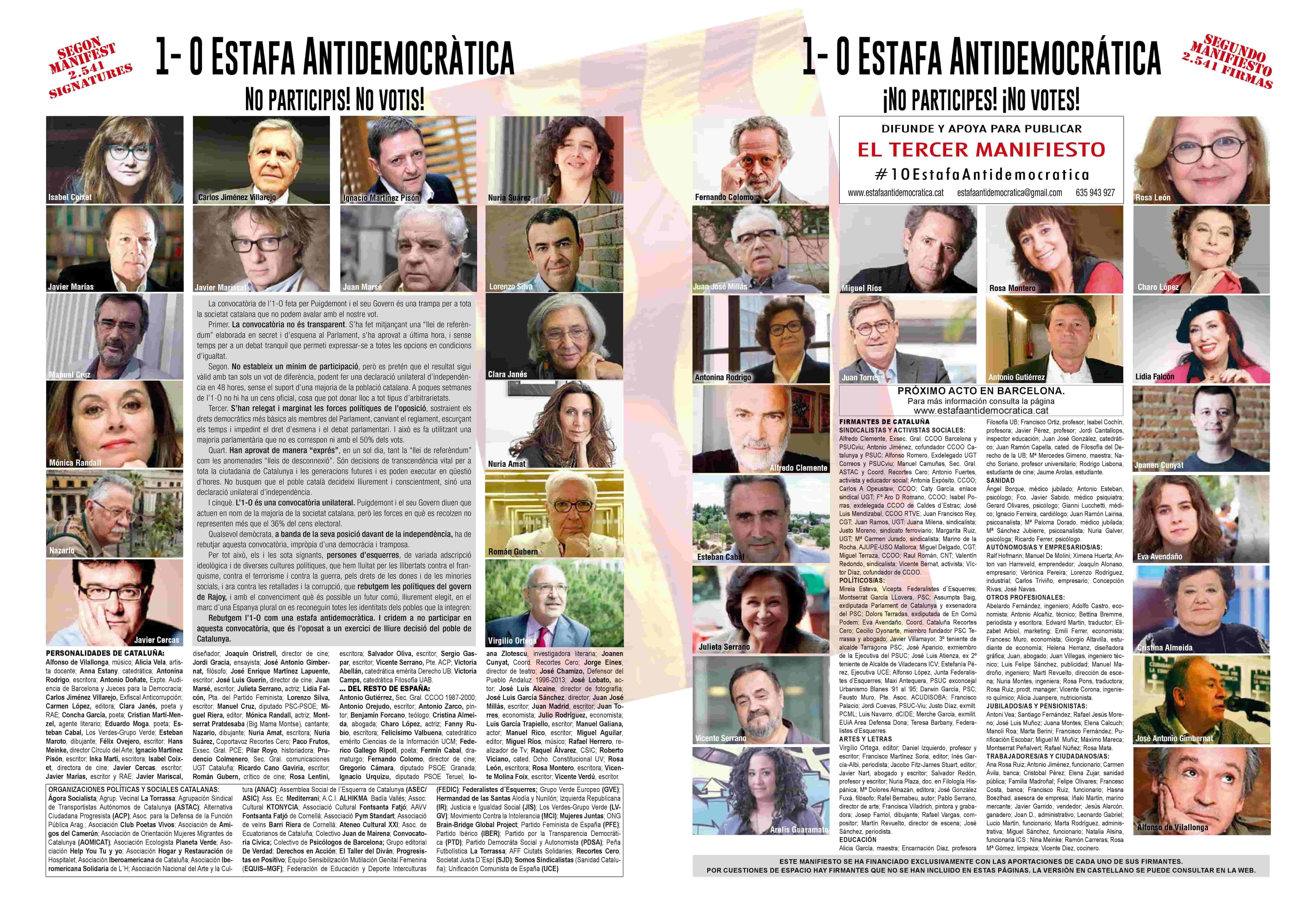 """Se publica el tercer manifiesto  """"1-O Estafa Antidemocrática"""" con más de 4 mil firmantes"""