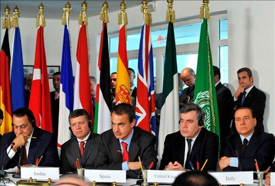(EFE) Mubarak (Egipto), Rey Hussein (Jordania), Zapatero (España), Brown (R.Unido), Berlusconi (Italia)