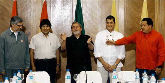 El Foro Social Mundial ha reunido al Frente: los presidentes de Paraguay, Fernando Lugo; Bolivia, Evo Morales; Brasil, Luiz Inácio Lula da Silva; Ecuador, Rafael Correa, y Venezuela, Hugo Chávez. EFE