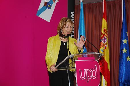 Rosa Díez durante la intervención en el acto de Vigo. (Foto, J. Eloy G. Ferro)