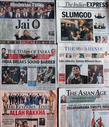 """EFE.- Las cabeceras de los diarios indios se hacen eco del éxito de """"Slumdog Millionaire"""""""