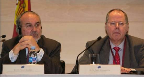 """(Efe) Pedro Solbes, y el ministro de Finanzas alemán , Peer Steinbrück, intervienen en la jornada informativa """"La crisis económica"""" dentro del V Foro Hispano Alemán."""
