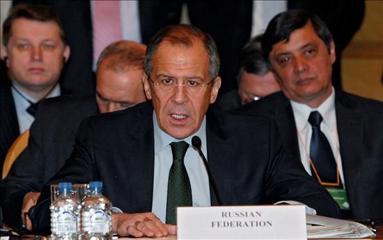 El ministro ruso de Exteriores, Sergei Lavrov, interviene en la Conferencia sobre Afganistán en Moscú. EFE