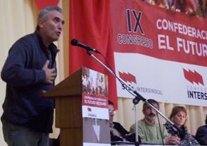 Diego Cañamero interviniendo como invitado en un congreso sindical