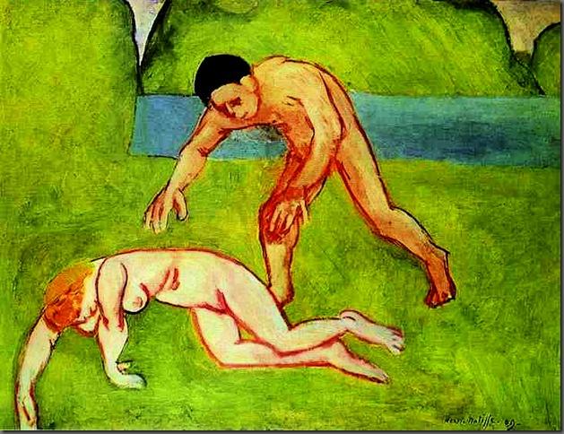Ninfa y Sátiro. Obra de 1909 incluida en la exposición