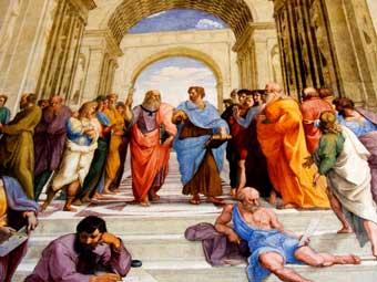 """Platón y Arstóteles en """"La escuela de Atenas"""" de Rafael"""