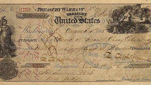 Cheque de 7,2 millones de dólares, pagado por EEUU al imperio ruso en 1867 para comprar Alaska.